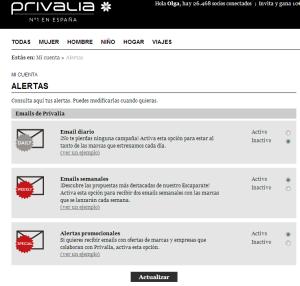 Panel de alertas en Privalia